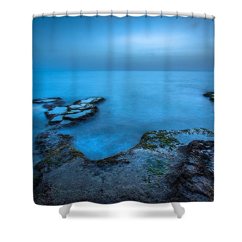 Blue Hour Sunset Sea Long Exposure Caesarea Shower Curtain featuring the pyrography Blue Hour Sunset by Bilal Zedan