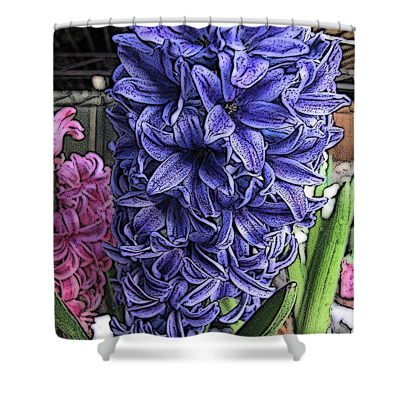 Flower Shower Curtain featuring the digital art Blue Hyacinth by Tim Allen