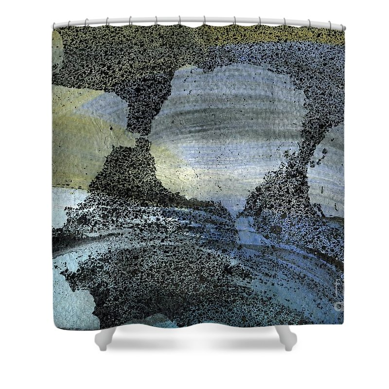 Blue Ice Pond 2 - Original Wax Encaustic Painting - Abstract Painting - Elizabethafox - Small Painting Shower Curtain featuring the painting Blue Ice Pond 2 by Elizabetha Fox