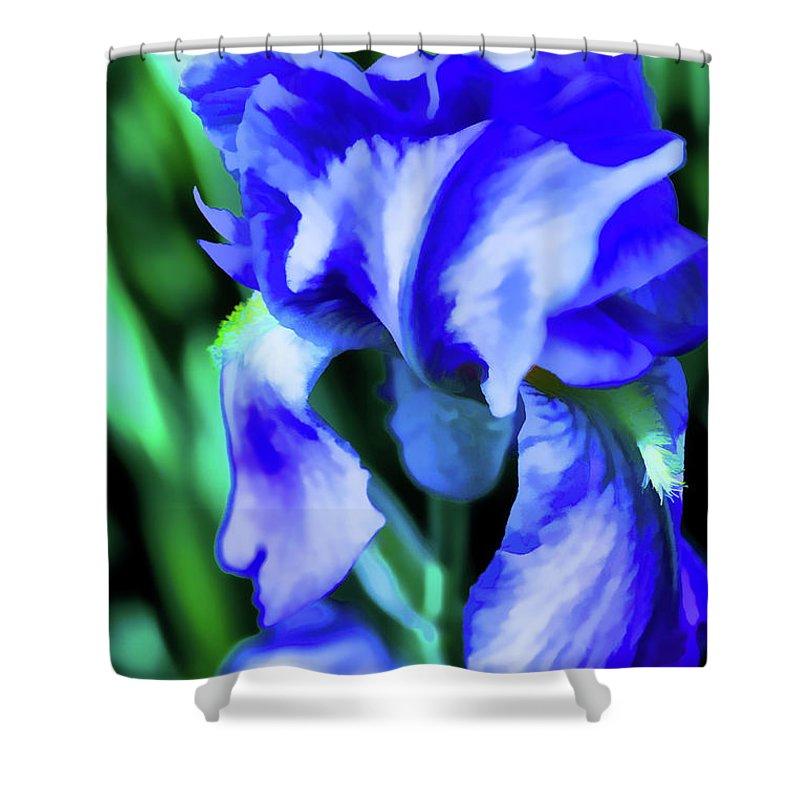 Irish Artistic Illusion Shower Curtain featuring the digital art Blue Iris by Rick Bragan