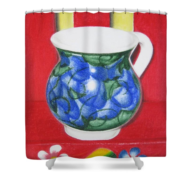 Blue Jarrito Shower Curtain featuring the painting Blue Jarrito by Lynet McDonald