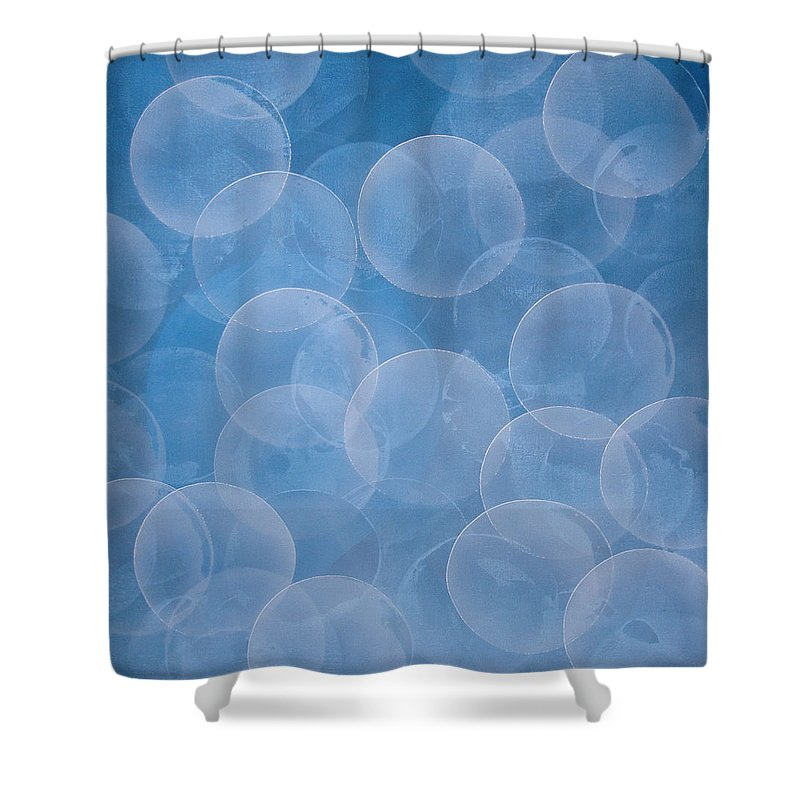 Abstract Shower Curtain featuring the painting Blue by Jitka Anlaufova
