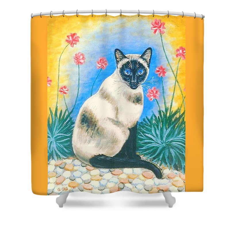 Cats Shower Curtain featuring the painting Blue Kitty by George I Perez