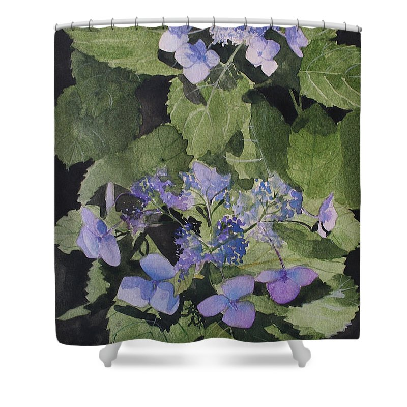 Flowers Shower Curtain featuring the painting Blue Lace by Jean Blackmer
