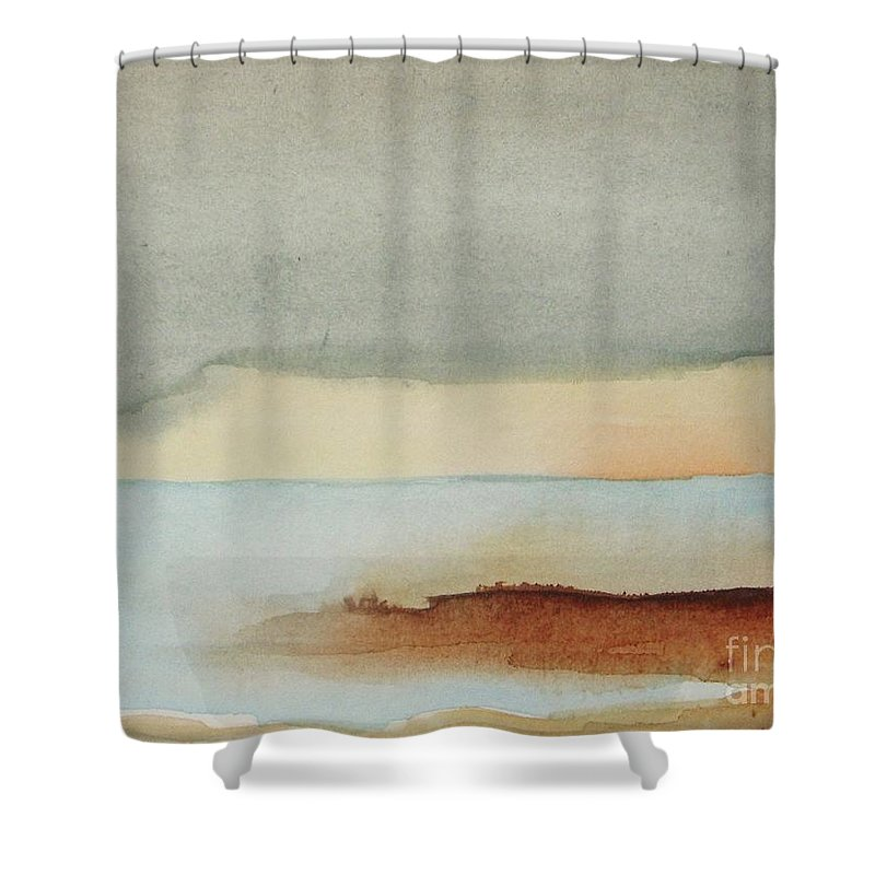 Abstract Shower Curtain featuring the painting Blue Lagoon by Vesna Antic