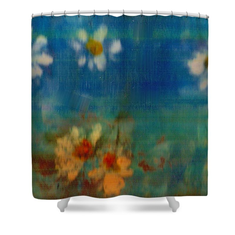 Oilpainting Shower Curtain featuring the painting Blue Landscape In Oil by Pepita Selles