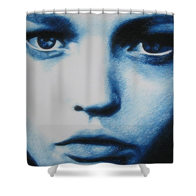 Girl Shower Curtain featuring the painting Blue by Lynet McDonald
