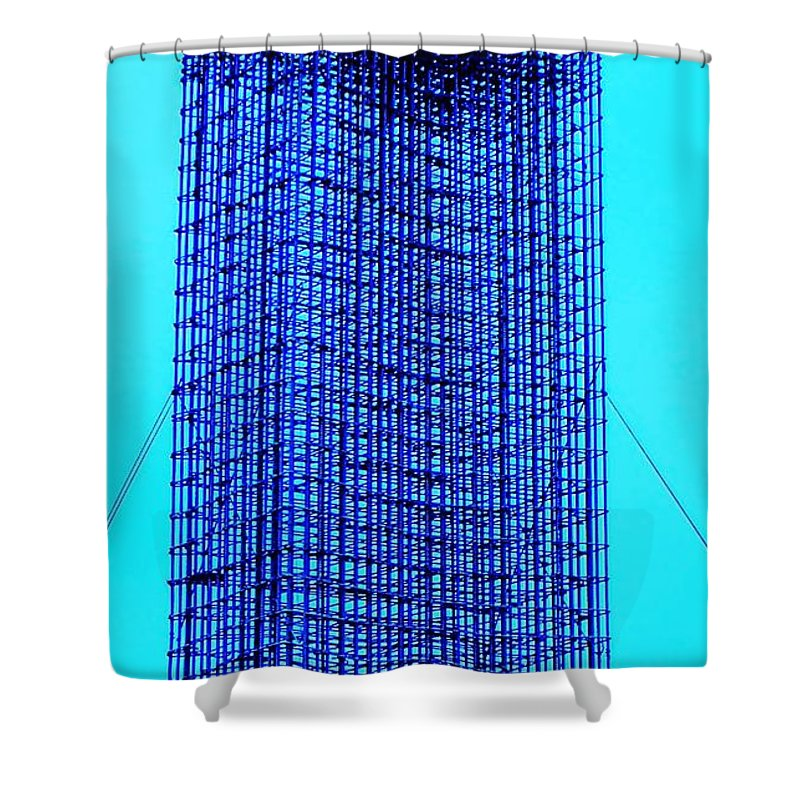 Metal Shower Curtain featuring the painting Blue Metal Mesh by Eric Schiabor