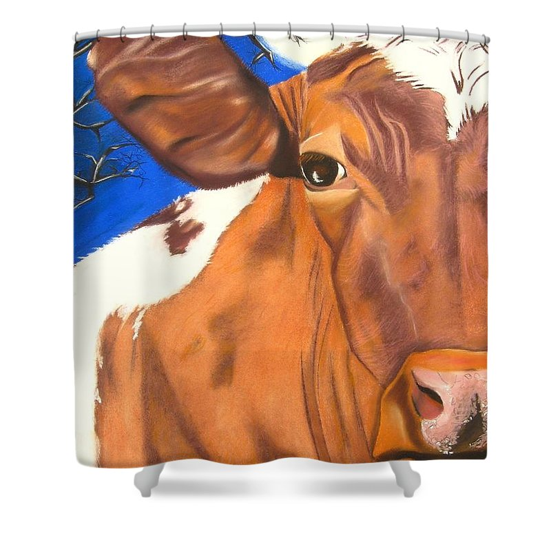 Cow Painting Shower Curtain featuring the pastel Blue Moo by Michelle Hayden-Marsan