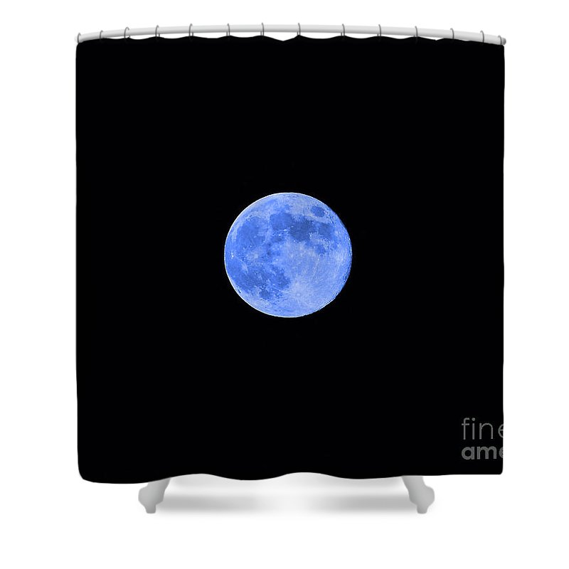 Moon Shower Curtain featuring the photograph Blue Moon by Al Powell Photography USA