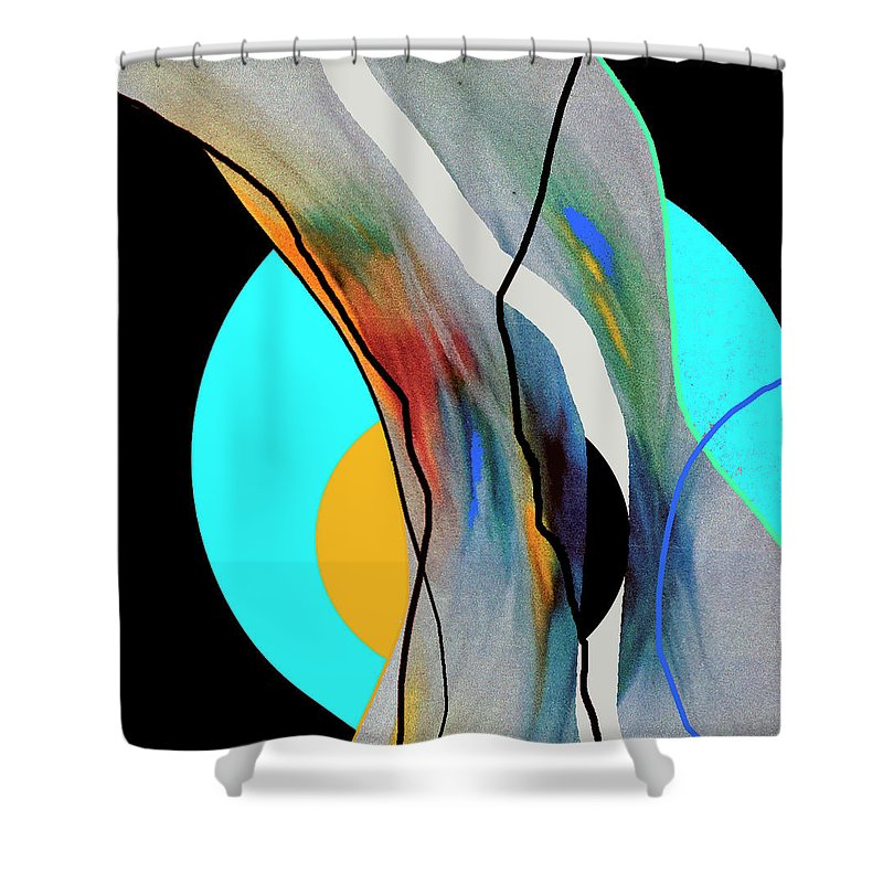 Abstract Shower Curtain featuring the digital art Blue Moon by Barbara Gerry