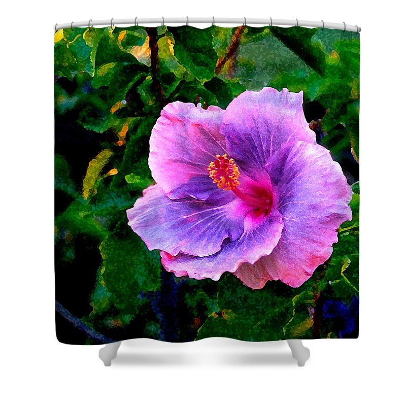 Flower Shower Curtain featuring the photograph Blue Moon Hibiscus by Steve Karol