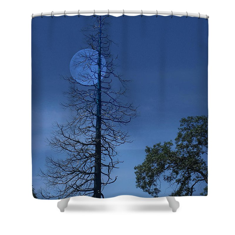 Landscape Shower Curtain featuring the photograph Blue Moon by Karen W Meyer
