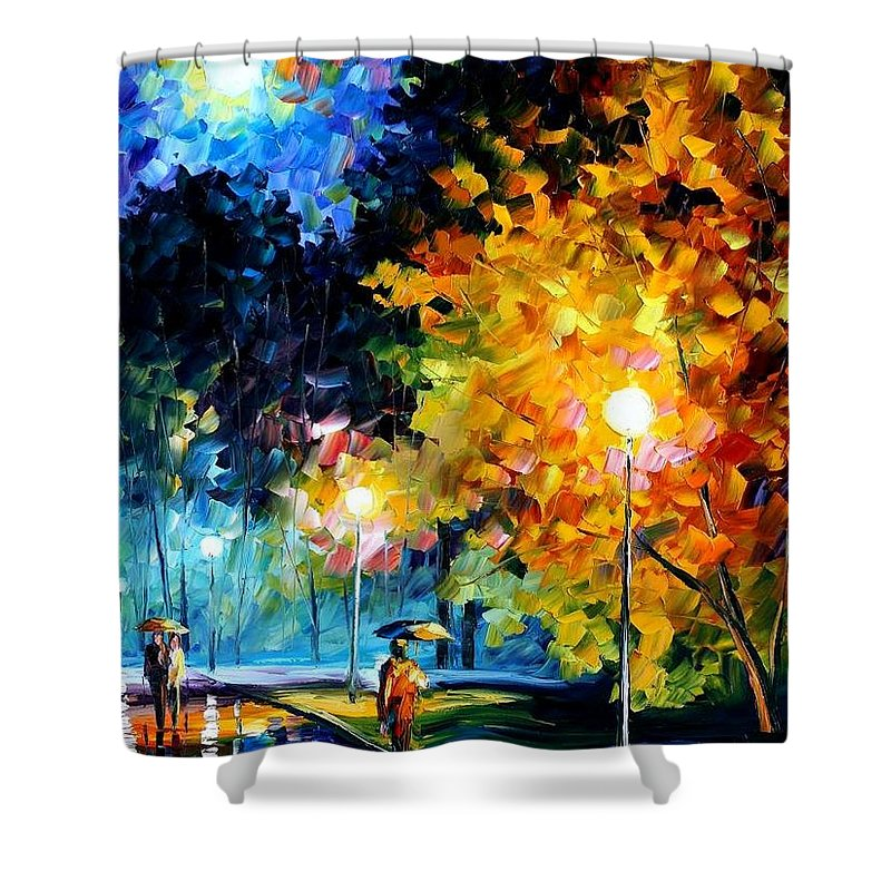 Afremov Shower Curtain featuring the painting Blue Moon by Leonid Afremov