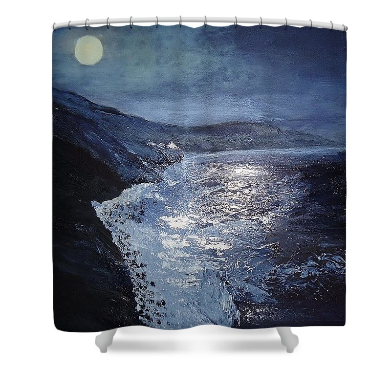 Pacific Highway Shower Curtain featuring the painting Blue Moon Over Big Sur by Claudia Lamprea