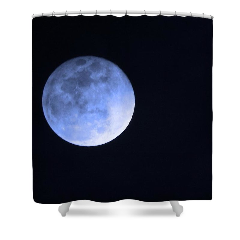 Moon Shower Curtain featuring the photograph Blue Moon by Phyllis Kaltenbach