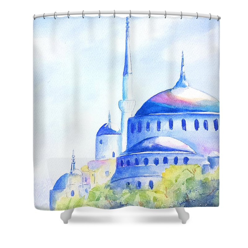 Istanbul Shower Curtain featuring the painting Blue Mosque Istanbul Turkey by Carlin Blahnik CarlinArtWatercolor