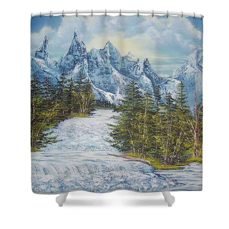 Blue Mountain Landscape Painting Images Mountain Rapids Painting Prints Whitewater Painting Prints Himalayan Mountain Painting Images Rocky Mountain Rapids Painting Prints Swollen River Prints Birch And Pine Forest Painting Prints. Shower Curtain featuring the painting Blue Mountain Torrent by Joshua Bales
