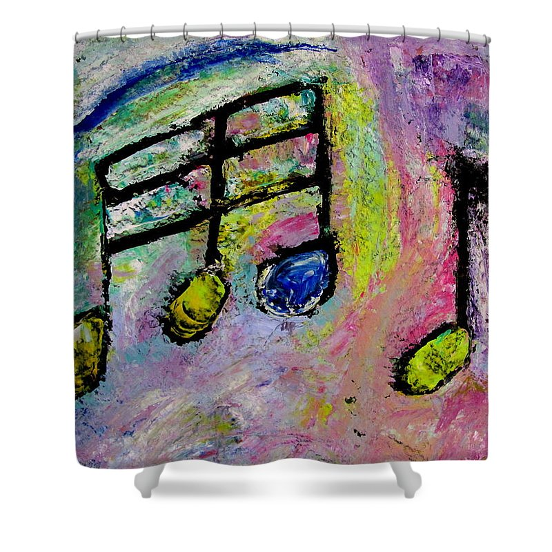 Impressionist Shower Curtain featuring the painting Blue Note by Anita Burgermeister