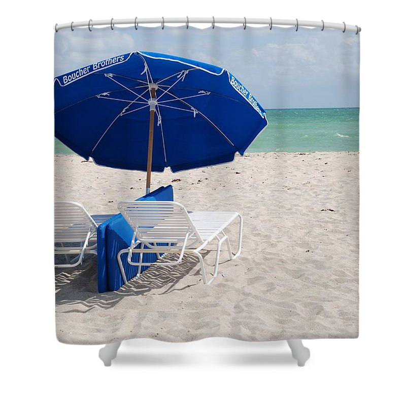 Sea Scape Shower Curtain featuring the photograph Blue Paradise Umbrella by Rob Hans
