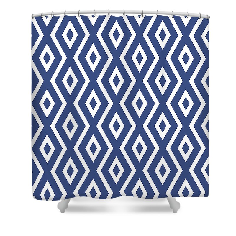 Blue And White Shower Curtain featuring the mixed media Blue Pattern by Christina Rollo