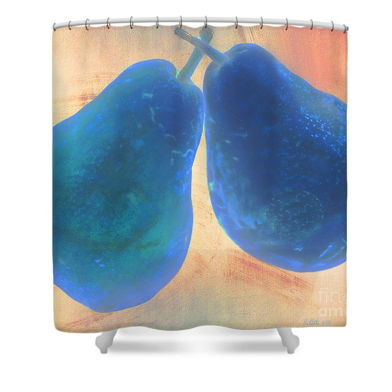 Pear Digital Blue Fruit Stem Shower Curtain featuring the photograph Blue Pears On Soft Peach by Heather Kirk