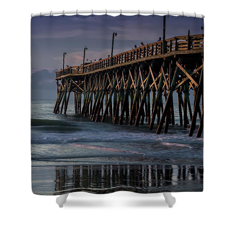 Pier Shower Curtain featuring the photograph Blue Pier by Leanne Trivett