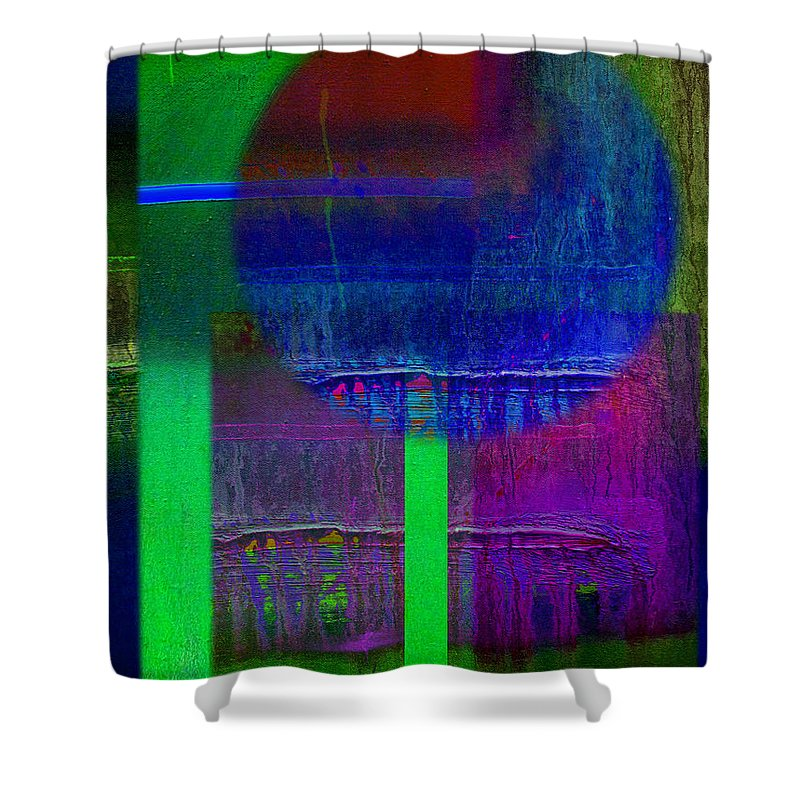 Landscape Shower Curtain featuring the painting Blue Planet by Charles Stuart