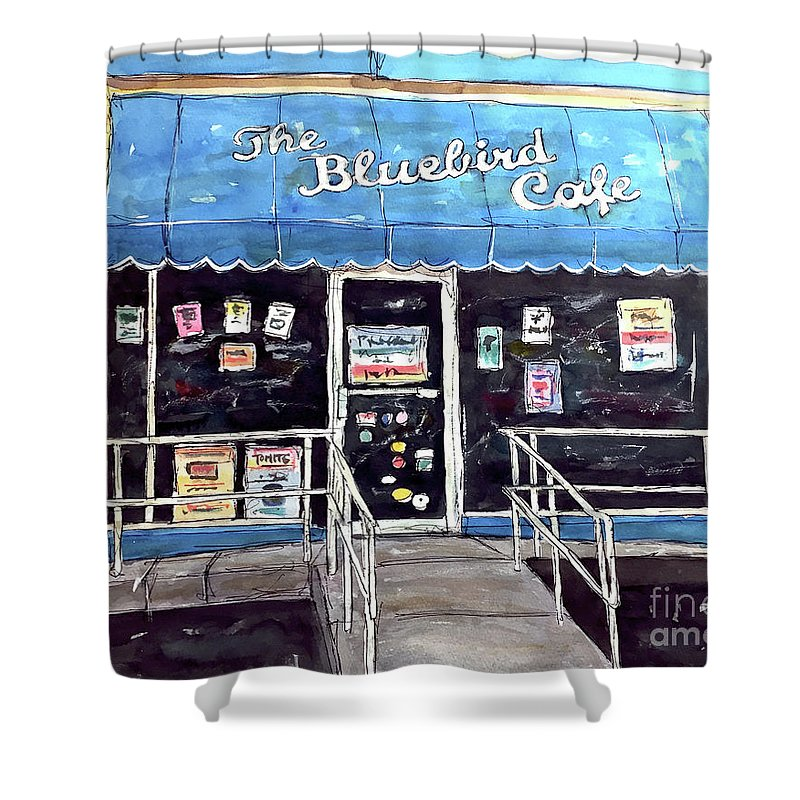 Bluebird Shower Curtain featuring the painting Blue Plate Special by Tim Ross