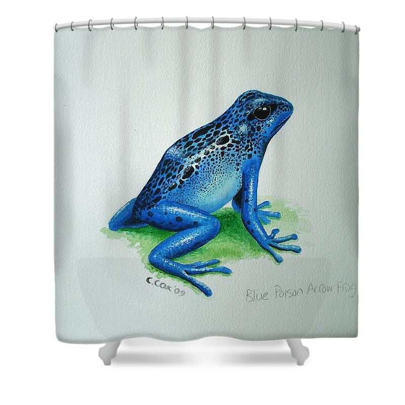 Poison Arrow Frog Shower Curtain featuring the painting Blue Poison Arrow Frog by Christopher Cox