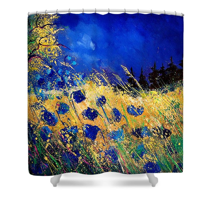 Flowers Shower Curtain featuring the painting Blue Poppies 459070 by Pol Ledent