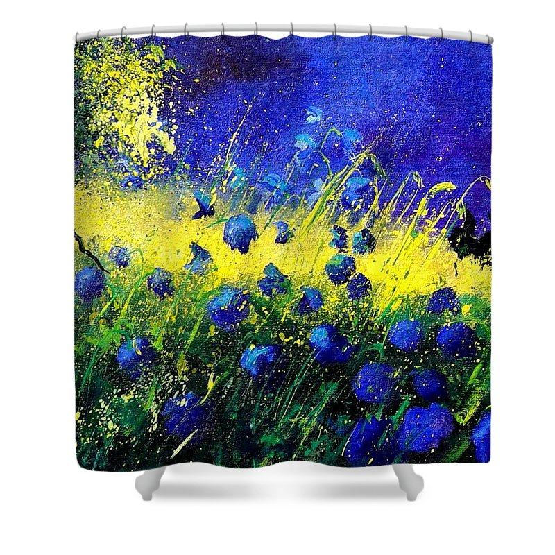 Flowers Shower Curtain featuring the painting Blue Poppies by Pol Ledent