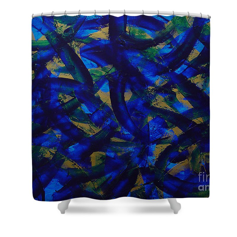 Abstract Shower Curtain featuring the painting Blue Pyramid by Dean Triolo