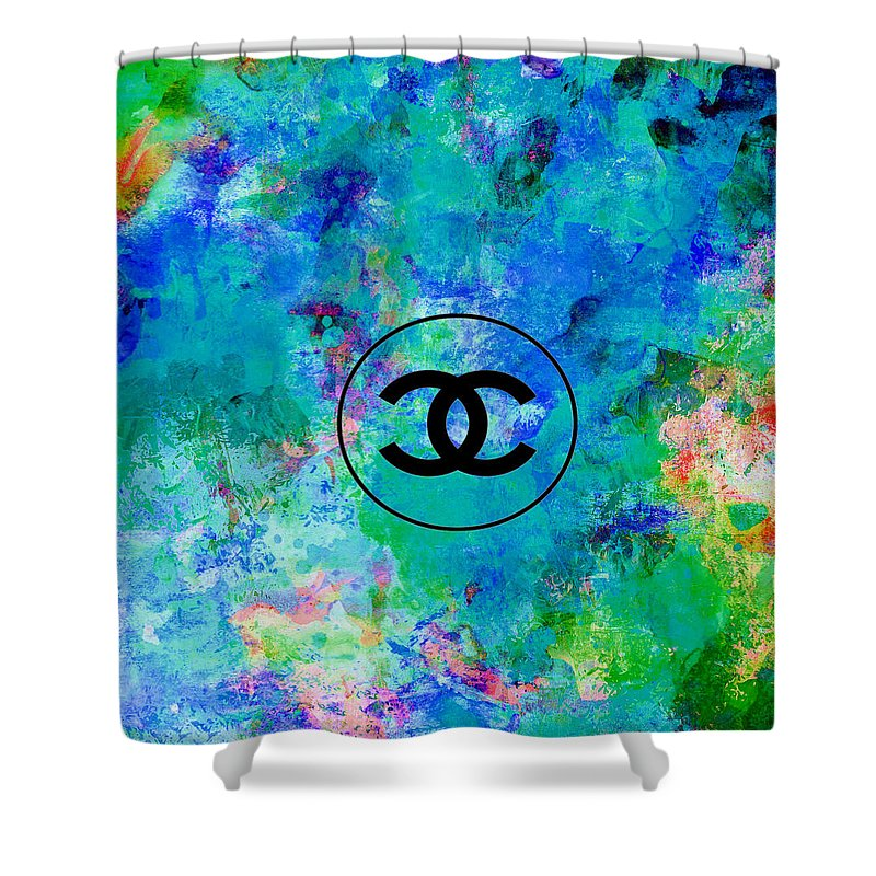 Chanel Shower Curtain featuring the painting Blue Red Black Chanel Logo Print by Del Art