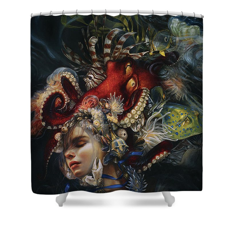 Woman Shower Curtain Featuring The Painting Blue Ribbon By Heather Theurer