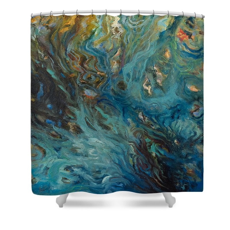 Marine Shower Curtain featuring the painting Blue by Rick Nederlof