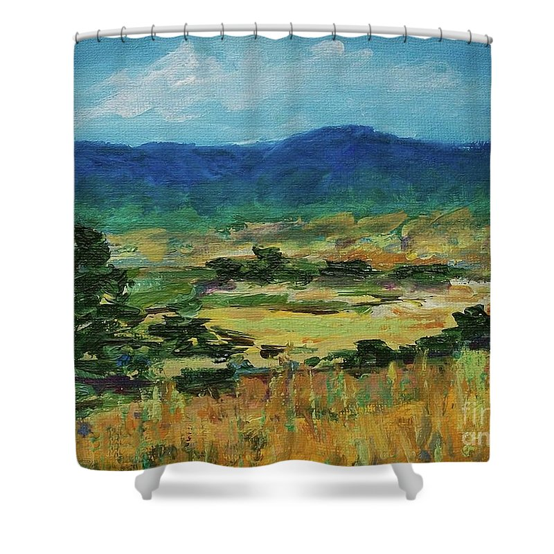 Pantone 2017 Greenery Shower Curtain featuring the painting Blue Ridge by Gail Kent