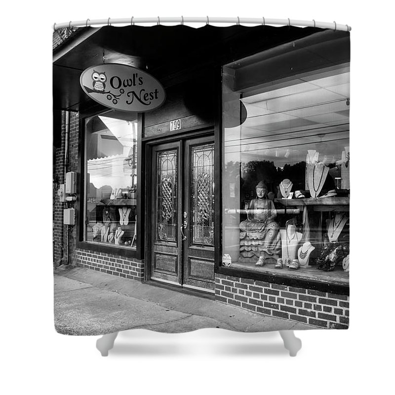 Owl's Nest Shower Curtain featuring the photograph Blue Ridge Owl's Nest In Black And White by Greg and Chrystal Mimbs