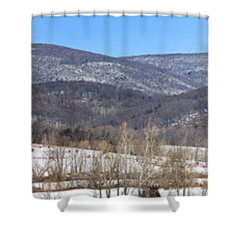 Blue Ridge Panorama Shower Curtain featuring the photograph Blue Ridge Panorama by Jemmy Archer