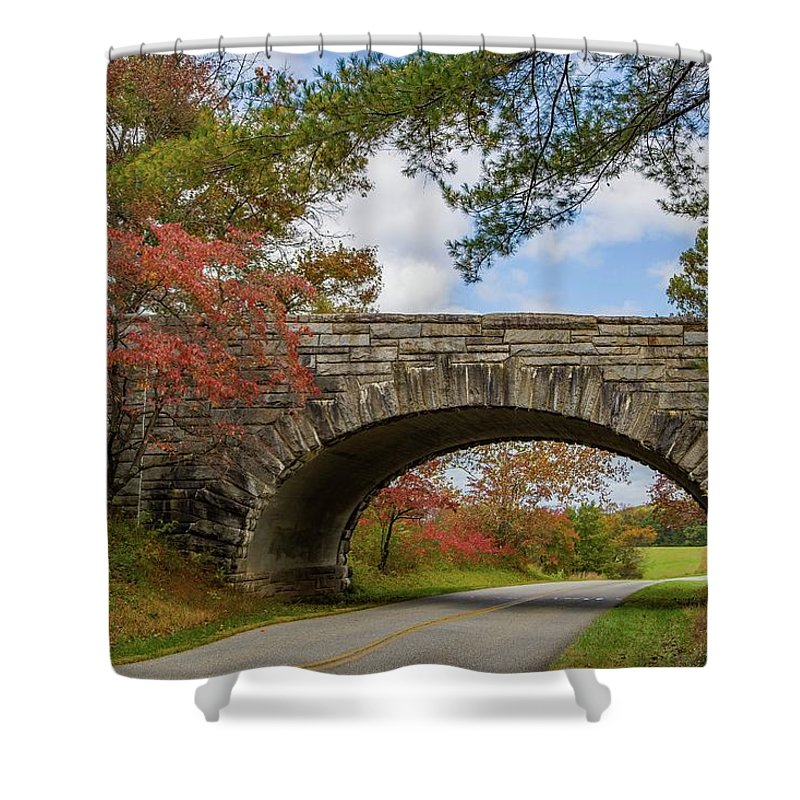 Fall Shower Curtain featuring the photograph Blue Ridge Parkway Stone Arch Bridge by Kevin Craft