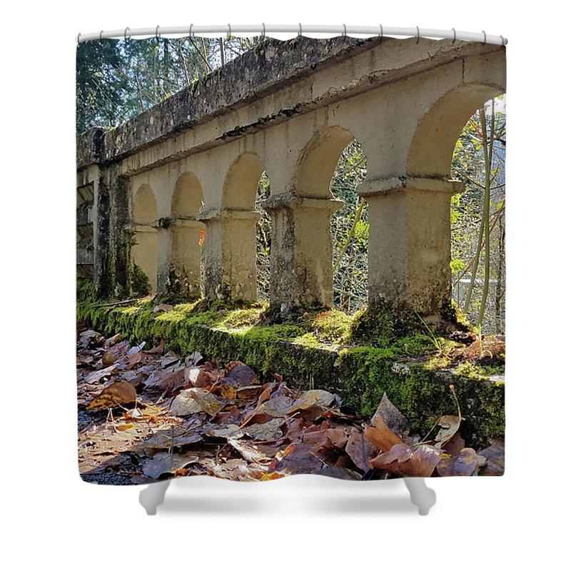 Oregon Shower Curtain featuring the photograph Blue River Bridge by Lindy Pollard