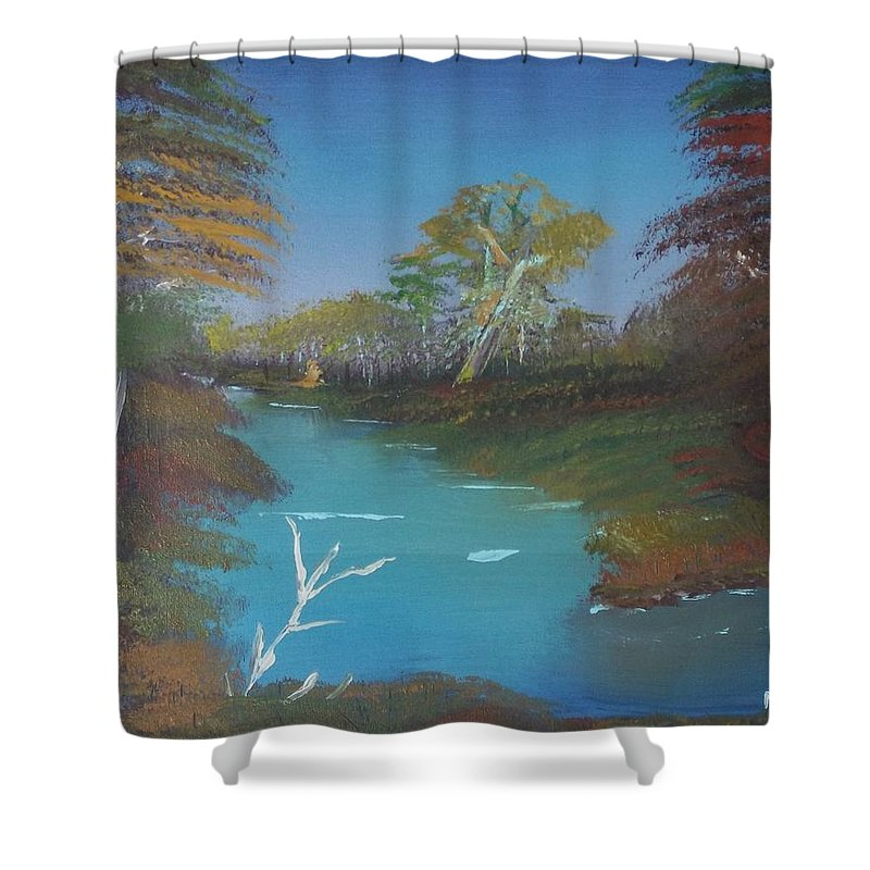 Landscape Shower Curtain featuring the painting Blue River Two by Mitchell Lee