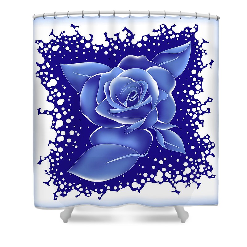 Rose Shower Curtain featuring the painting Blue Rose by Alison Stein