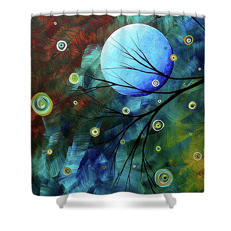 Art Shower Curtain featuring the painting Blue Sapphire 1 By Madart by Megan Duncanson