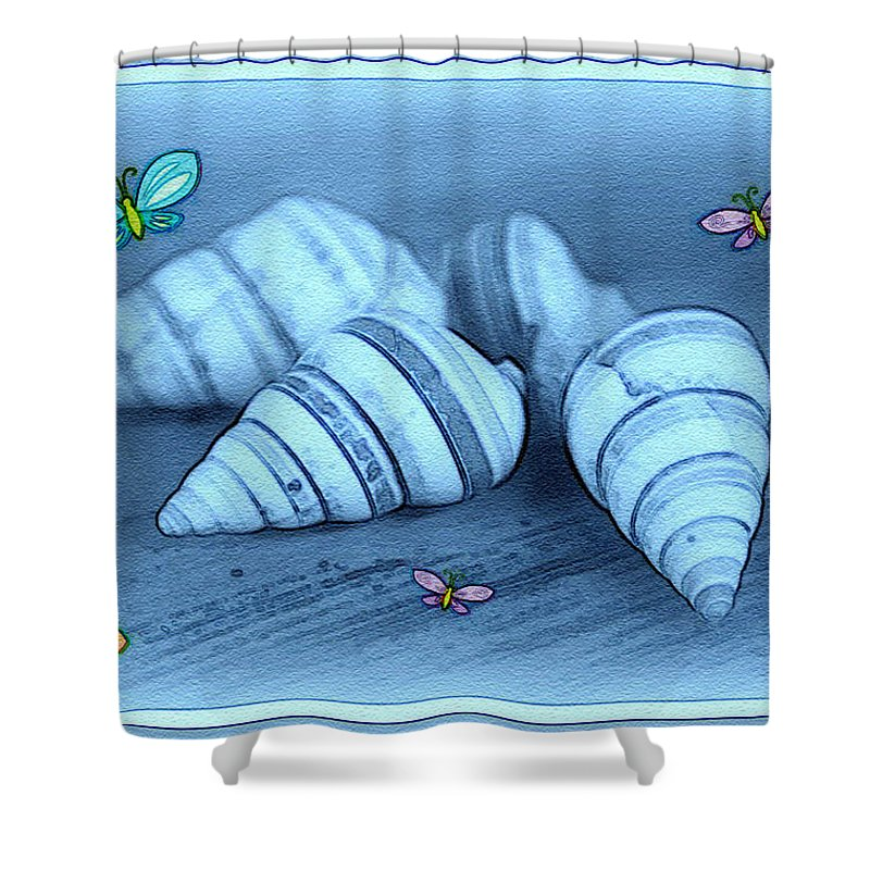 Shell Art Shower Curtain featuring the photograph Blue Seashells by Linda Sannuti