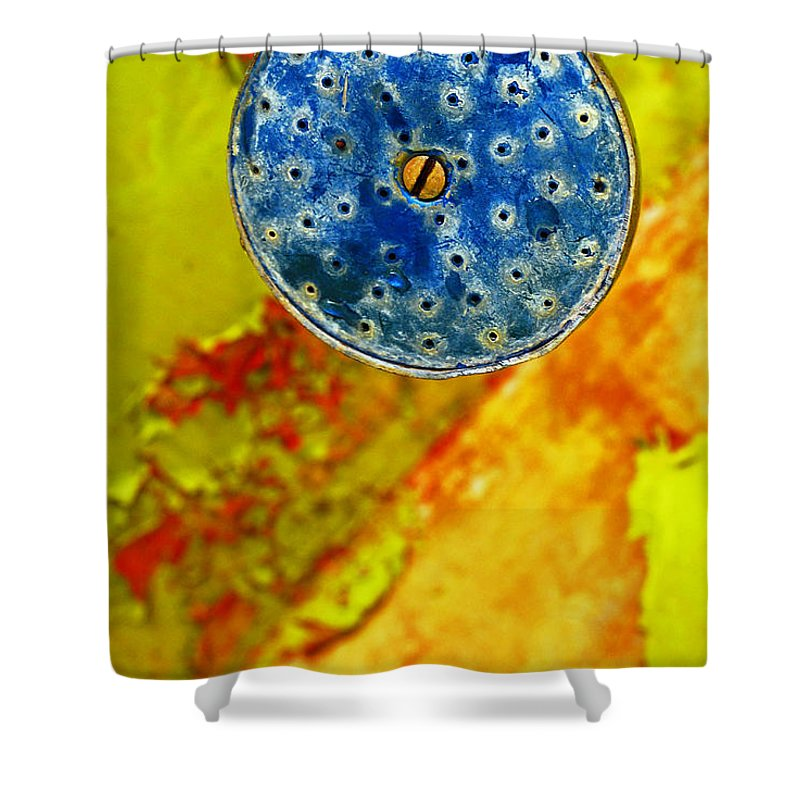 Shadow Shower Curtain featuring the photograph Blue Shower Head by Skip Hunt