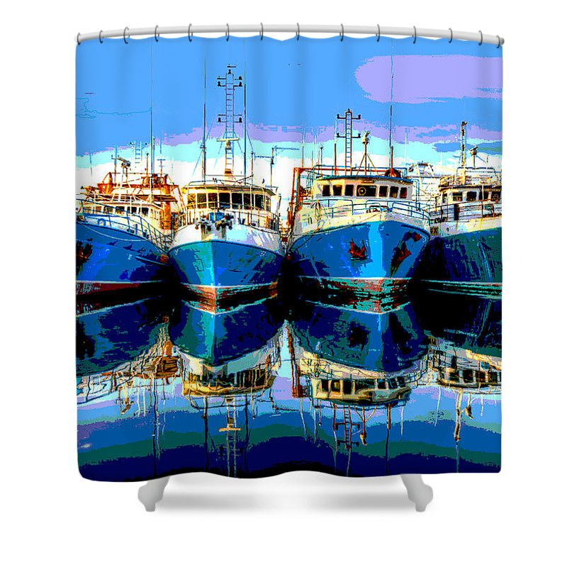 Pier Shower Curtain featuring the mixed media Blue Shrimp Boats by Charles Shoup