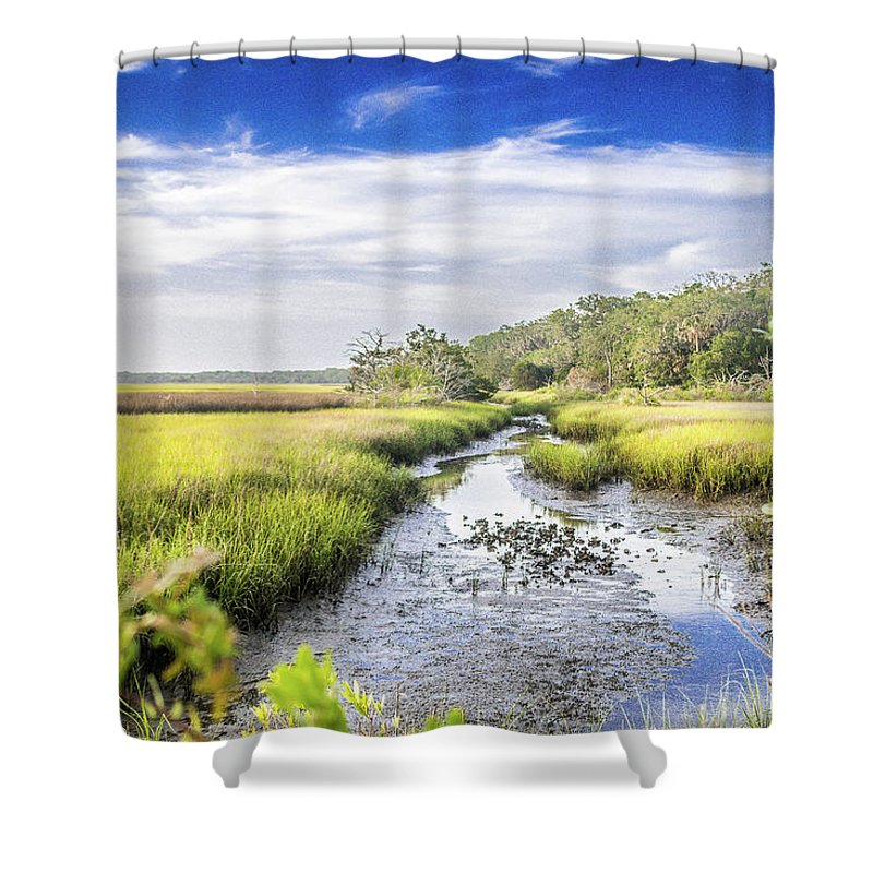 Creek Shower Curtain featuring the photograph Blue Skies Above by Rick Allen