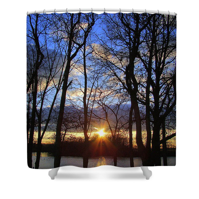 Sunset Shower Curtain featuring the photograph Blue Skies And Golden Sun by J R Seymour
