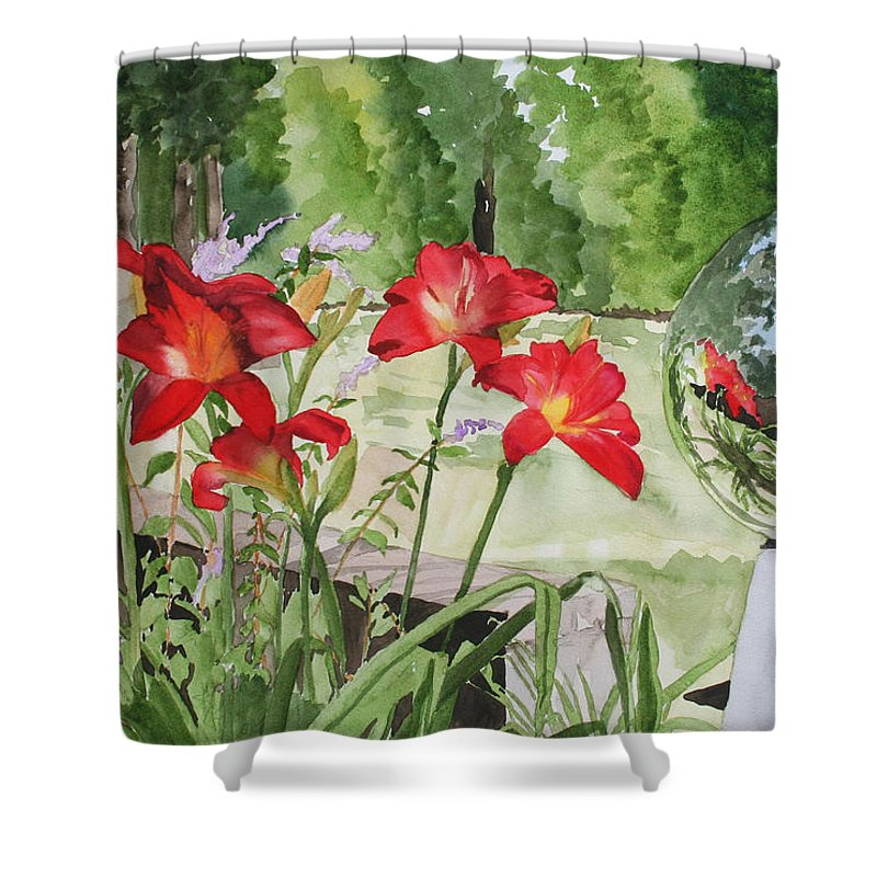 Flowers Shower Curtain featuring the painting Blue Sky Reflections by Jean Blackmer